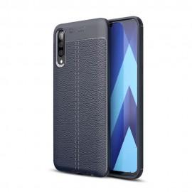 Coque Silicone Samsung Galaxy A70 Cuir 3D Bleu