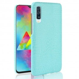 Coque Samsung Galaxy A70 Croco Cuir Turquoise