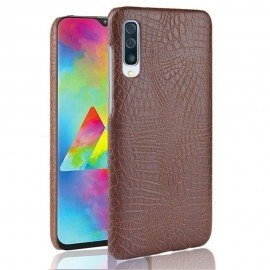 Coque Samsung Galaxy A70 Croco Cuir Marron