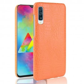 Coque Samsung Galaxy A70 Croco Cuir Orange