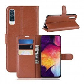 Etuis Portefeuille Samsung Galaxy A70 Simili Cuir Marron