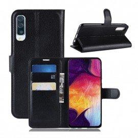 Etuis Portefeuille Samsung Galaxy A70 Simili Cuir Noir