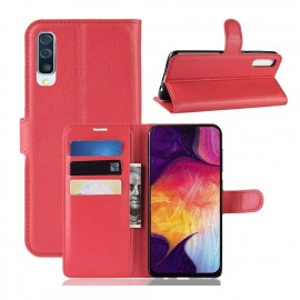 Etuis Portefeuille Samsung Galaxy A70 Simili Cuir Rouge