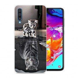 Coque Silicone Samsung Galaxy A70 Chat Mirroir