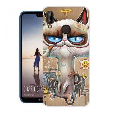 Coque Silicone Huawei P20 Lite Chat Stone