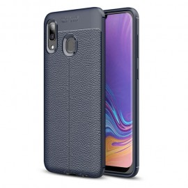 Coque Silicone Samsung Galaxy A20e Cuir 3D Bleue