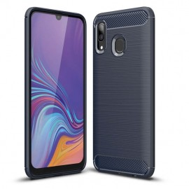 Coque Samsung Galaxy A20e Carbone TPU Bleue
