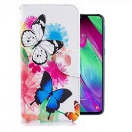 Etuis Portefeuille Samsung Galaxy A20e Papillons