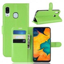 Etuis Portefeuille Samsung Galaxy A20e Simili Cuir Vert