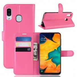 Etuis Portefeuille Samsung Galaxy A20e Simili Cuir Rose