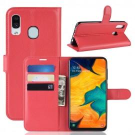 Etuis Portefeuille Samsung Galaxy A20e Simili Cuir Rouge