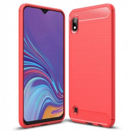 Coque Silicone Samsung Galaxy A10 Brossé Rouge