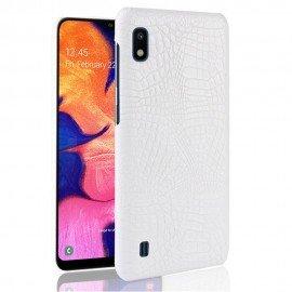 Coque Samsung Galaxy A10 Croco Cuir Blanche
