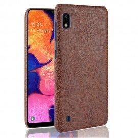 Coque Samsung Galaxy A10 Croco Cuir Marron