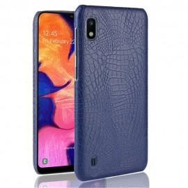 Coque Samsung Galaxy A10 Croco Cuir Bleue Marine