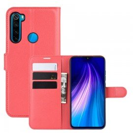 Etuis Portefeuille Xiaomi Redmi Note 8 Simili Cuir Rouge
