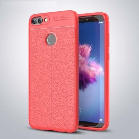 Coque Silicone Huawei P Smart Cuir 3D Rouge