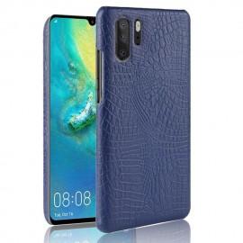 Coque Huawei P30 PRO Cuir Croco Bleue
