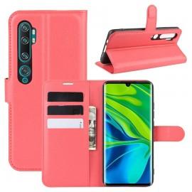 Etuis Portefeuille Xiaomi Mi Note 10 Simili Cuir Rouge
