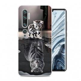 Coque Silicone Xiaomi Mi Note 10 Chat et Tigre