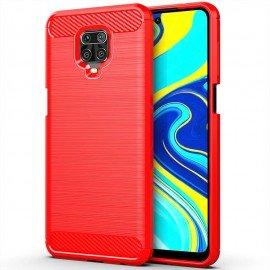 Coque Silicone Xiaomi Redmi Note 9 Pro Carbone 3D Rouge