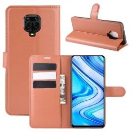 Etuis Portefeuille Xiaomi Redmi Note 9 Pro Simili Cuir Marron