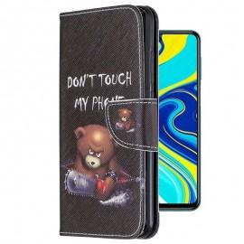 Etuis Portefeuille Redmi Note 9 Pro Simili Cuir Ourson