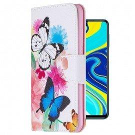 Etuis Portefeuille Redmi Note 9 Pro Simili Cuir Papillons