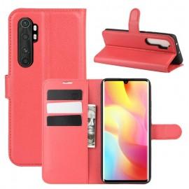 Etuis Portefeuille Xiaomi Mi Note 10 Lite Simili Cuir Rouge