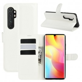 Etuis Portefeuille Xiaomi Mi Note 10 Lite Simili Cuir Blanc