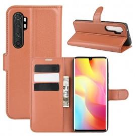 Etuis Portefeuille Xiaomi Mi Note 10 Lite Simili Cuir Marron