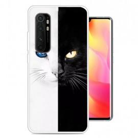 Coque Xiaomi Mi Note 10 Lite Chat noir et Blanc Silicone