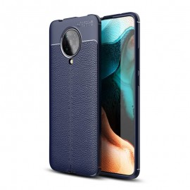 Coque Pocophone F2 Pro Tpu Cuir 3D Bleue