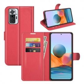 Etuis Portefeuille Xiaomi Redmi Note 10 Pro Cuir Rouge