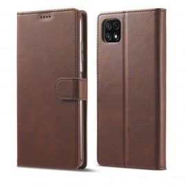 Etuis Portefeuille Samsung Galaxy A22 Cuir Marron