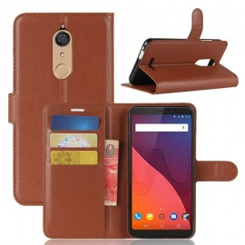 Etuis Portefeuille Wiko View Fonction Support Marron