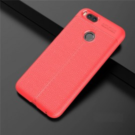 Coque Silicone Xiaomi MI A1 Cuir 3D Rouge
