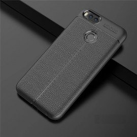 Coque Silicone Xiaomi MI A1 Cuir 3D Noir
