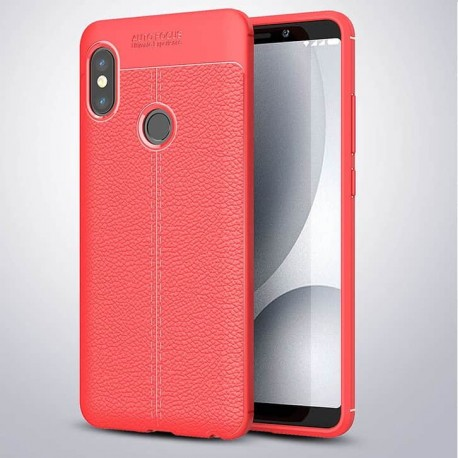 Coque Silicone Xiaomi Redmi Note 5 Cuir 3D Rouge