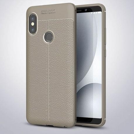 Coque Silicone Xiaomi Redmi Note 5 Cuir 3D Gris.
