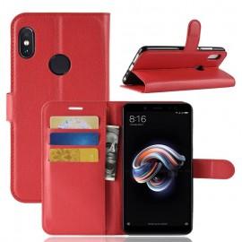 Etuis Portefeuille Xiaomi Redmi Note 5 Simili Cuir Rouge