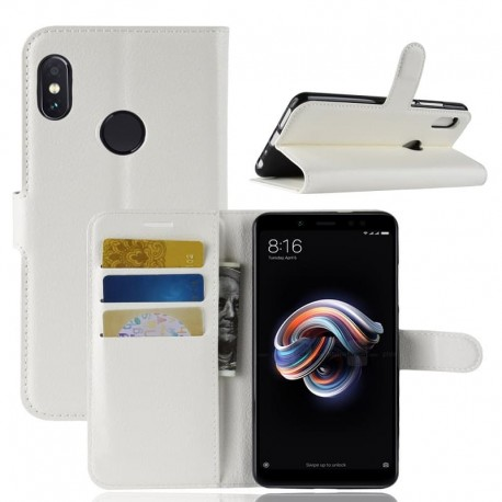 Etuis Portefeuille Xiaomi Redmi Note 5 Simili Cuir Blanc