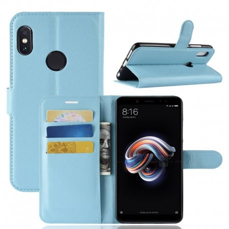 Etuis Portefeuille Xiaomi Redmi Note 5 Simili Cuir Bleu