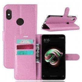 Etuis Portefeuille Xiaomi Redmi Note 5 Simili Cuir Rose