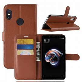 Etuis Portefeuille Xiaomi Redmi Note 5 Simili Cuir Marron