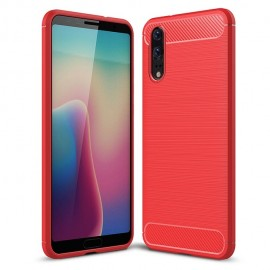 Coque Silicone Huawei P20 Brossé Rouge