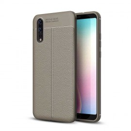Coque Silicone Huawei P20 Cuir 3D Grise
