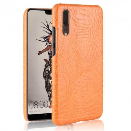Coque Huawei P20 Cuir Croco Orange