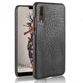 Coque Huawei P20 Cuir Croco Noir