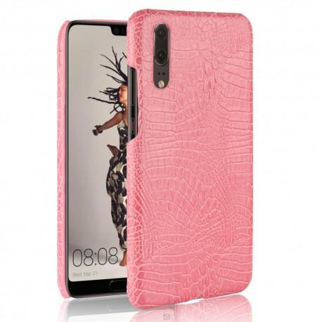 Coque Huawei P20 Cuir Croco Rose